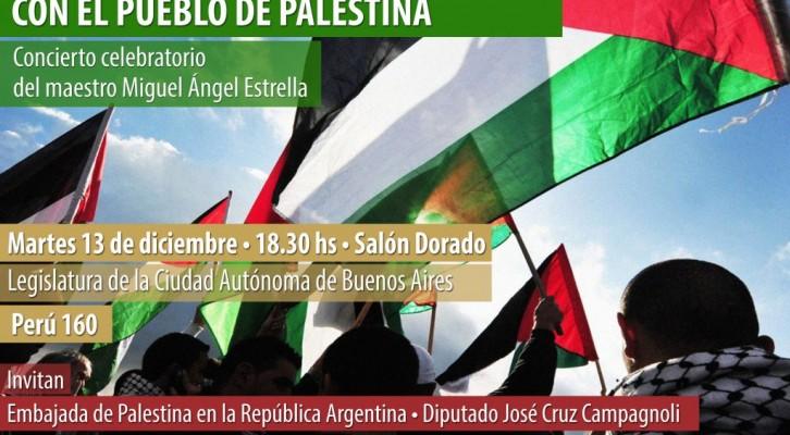 Concierto del maestro Miguel Ángel Estrella en el marco del Día Internacional de Solidaridad con el Pueblo Palestino
