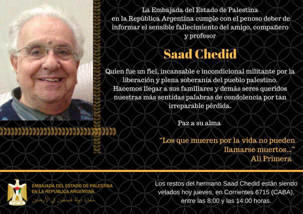 Obituario - Falleció Saad Chedid, un imprescindible para la defensa de la causa palestina